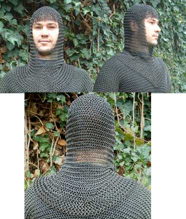 Medieval Chain Mail Coif, butted steel, blackened