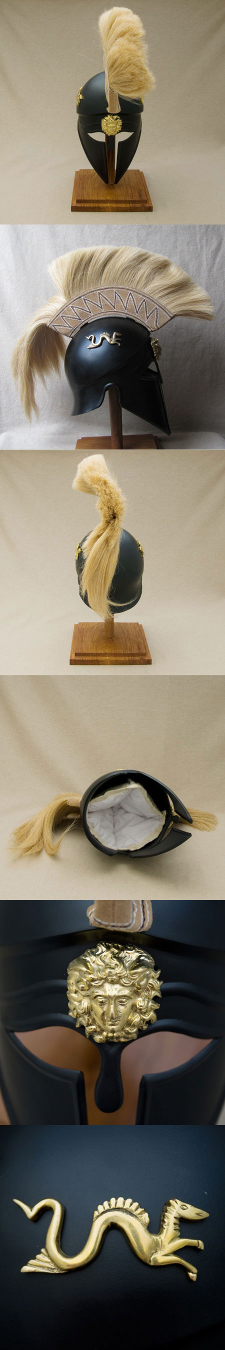 Cabeza para poner los auriculares. AH6058R2-greek-corinthian-helmet-w-beige-plume,abt-500-b-c-