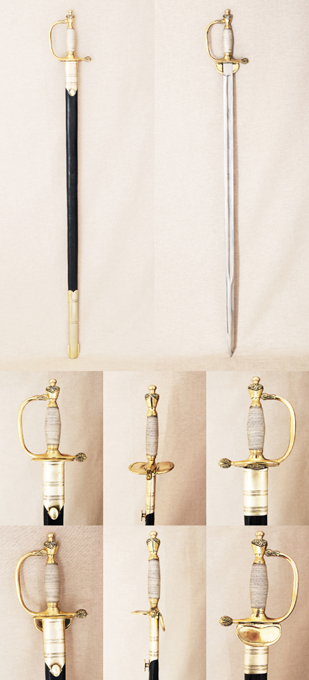 Royal Officer's epee or straight sword, 18th cent.