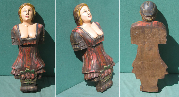 Figurehead, handcarved, hardwood, seaman's bride