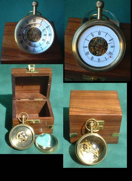 Mechanical ball clock in wooden box (teak)