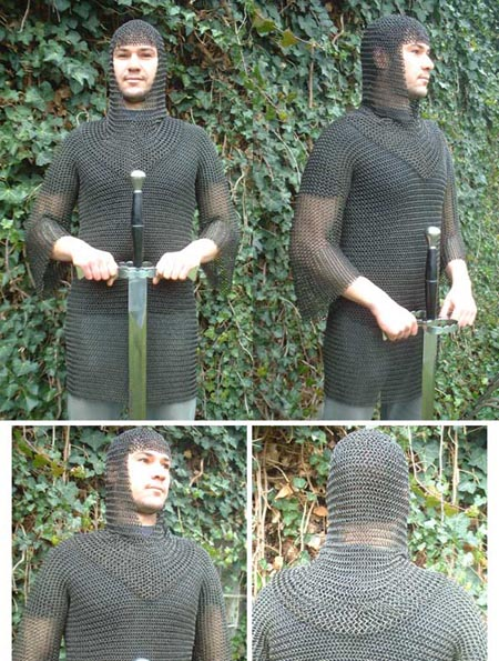 Medieval extra large black Chain Mail Shirt XXL+